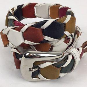 White Multicolor Woven Leather Belt M/L